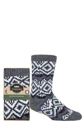 Mens 1 Pair Totes Brushed Fairisle Fleece Socks