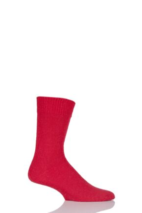 Mens and Ladies 1 Pair SockShop of London Mohair Plain Knit True Socks Red 4-7