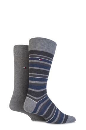 Mens 2 Pair Tommy Hilfiger Variation Striped Cotton Socks Middle Grey Melange 9-11