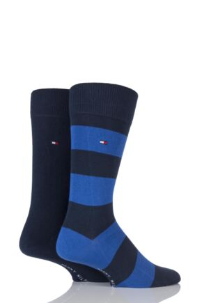 Mens 2 Pair Tommy Hilfiger Rugby Striped Cotton Socks Tommy Classic 9-11