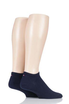 Mens 2 Pair Tommy Hilfiger Plain Cotton Sneaker Socks