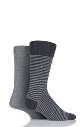 Mens 2 Pair Tommy Hilfiger Small Stripe Cotton Socks Anthracite Melange 9-11