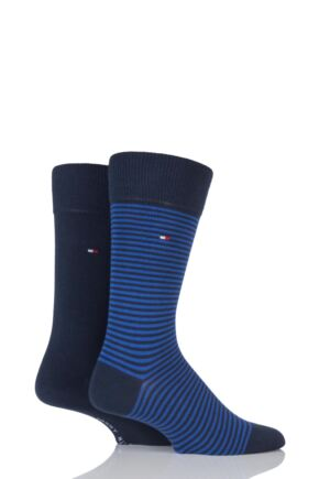 Mens 2 Pair Tommy Hilfiger Small Stripe Cotton Socks Tommy Classic 9-11