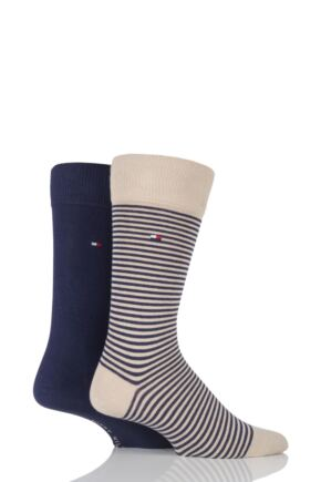 Mens 2 Pair Tommy Hilfiger Small Stripe Cotton Socks