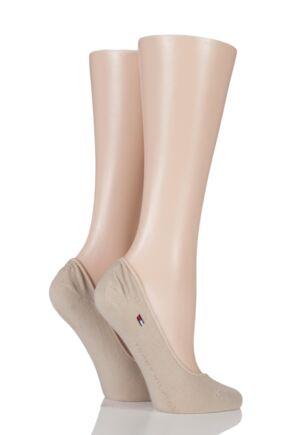 Ladies 2 Pair Tommy Hilfiger Plain Cotton Invisible Footie Socks