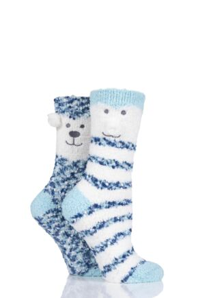 Ladies 2 Pair Totes Cosy Bear Striped Socks