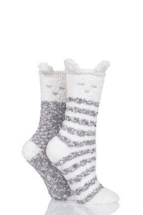 Ladies 2 Pair Totes Cosy Bear Striped Socks