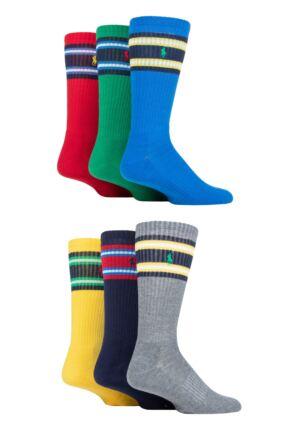 Mens 6 Pack Ralph Lauren Classic Sport Cushioned Socks