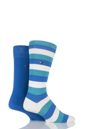 Mens 2 Pair Tommy Hilfiger Regency Striped and Plain Cotton Socks 25% OFF