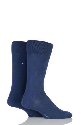 Mens 2 Pair Tommy Hilfiger Broken Structure Diamond Cotton Socks