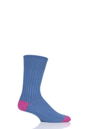 Mens 1 Pair SockShop of London Fashion Rib Cotton Socks With Contrast Heel and Toe Cornflower / Clematis L