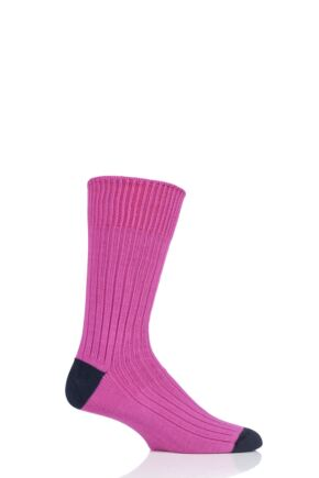 Mens 1 Pair SockShop of London Fashion Rib Cotton Socks With Contrast Heel and Toe