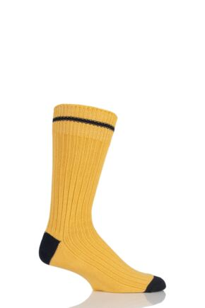 Mens 1 Pair SOCKSHOP of London Fashion Rib Cotton Socks With Contrast Heel and Toe Marigold / Rich Navy L