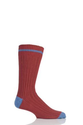 Mens 1 Pair SockShop of London Fashion Rib Cotton Socks With Contrast Heel and Toe Terracotta / Cornflower L