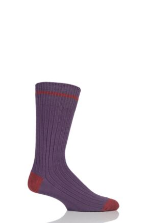 Mens 1 Pair SOCKSHOP of London Fashion Rib Cotton Socks With Contrast Heel and Toe Raisin / Terracotta S
