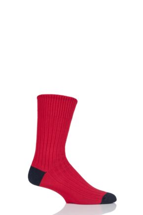 Mens 1 Pair SOCKSHOP of London Fashion Rib Cotton Socks With Contrast Heel and Toe Brigade S