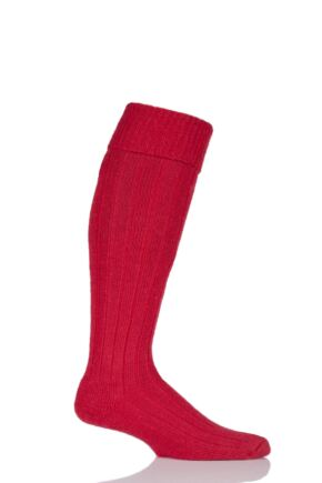Mens and Ladies 1 Pair SockShop of London Mohair Knee High Socks With Extra Cushioning and Ribbed Top Red 4-7