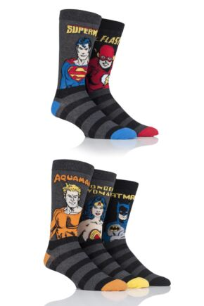 SOCKSHOP Justice League Aquaman, Flash, Superman, Batman and Wonder Woman Socks