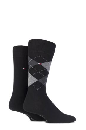 Mens 2 Pair Tommy Hilfiger Classic Tommy Argyle and Plain Socks