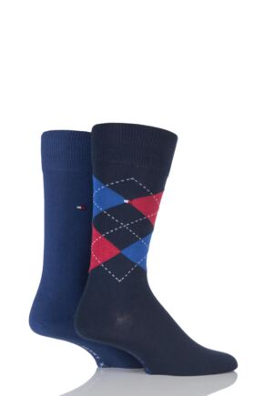 Mens 2 Pair Tommy Hilfiger Classic Tommy Argyle and Plain Socks Tommy Classic 6-8