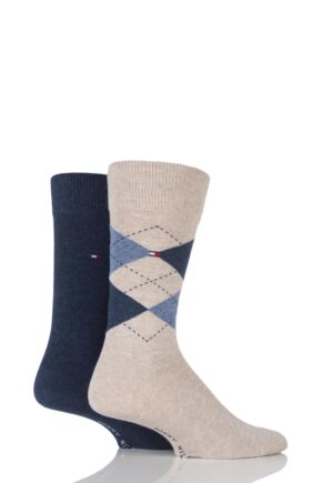 Mens 2 Pair Tommy Hilfiger Classic Tommy Argyle and Plain Socks Mid Summer 9-11