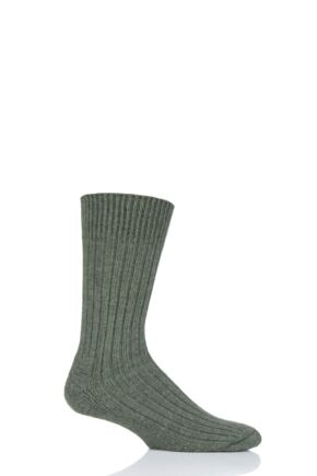Mens and Ladies 1 Pair SOCKSHOP of London Alpaca Ribbed Boot Socks With Cushioning Bottle Green 4-7 Unisex