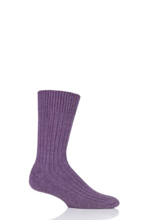 Mens and Ladies 1 Pair SOCKSHOP of London Alpaca Ribbed Boot Socks With Cushioning Damson 8-10 Unisex