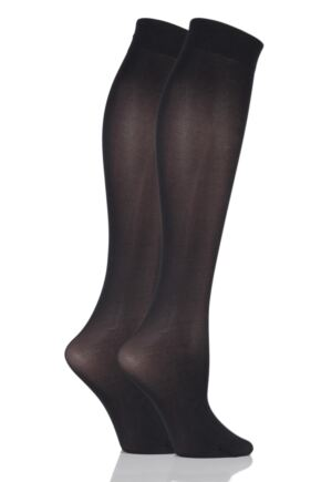 Ladies 2 Pair Elle 40 Denier Opaque Knee Highs