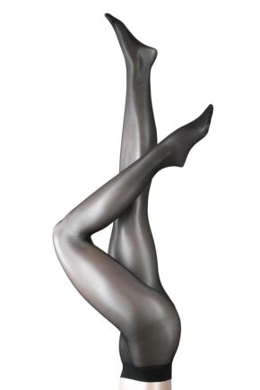 Ladies 1 Pair Falke Seidenglatt 15 Denier Transparent Shining Tights Black