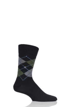 Mens 1 Pair Burlington Dundee Wool Argyle Socks