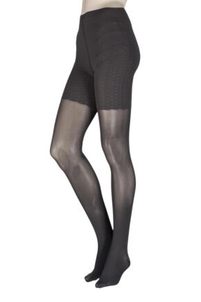 Ladies 1 Pair Falke Cellulite Control 50 Denier Tights Charcoal Large