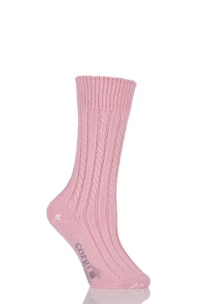 Ladies 1 Pair Corgi 100% Cashmere Cable Knit Leisure Socks Pink L