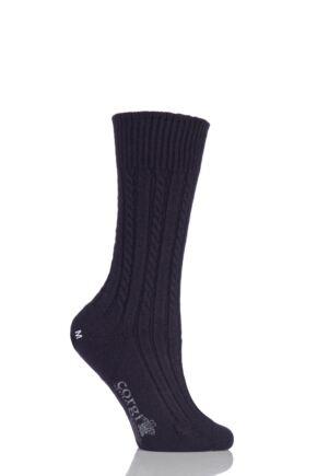 Ladies 1 Pair Corgi 100% Cashmere Cable Knit Leisure Socks Purple M