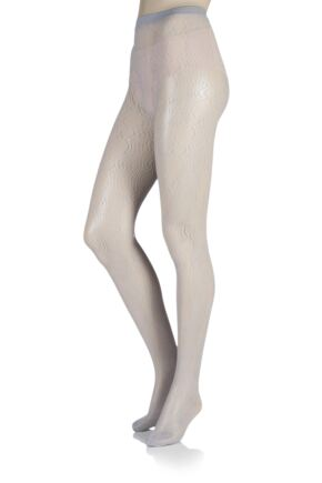 Ladies 1 Pair Falke Hourglass Wave Net Tights Silver S/M