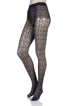 Ladies 1 Pair Falke Vanity Leaf Net Tights