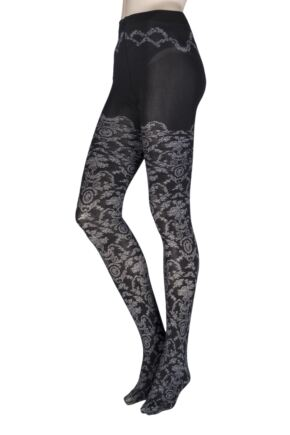 Ladies 1 Pair Falke Toile De Jouy Opaque Tights