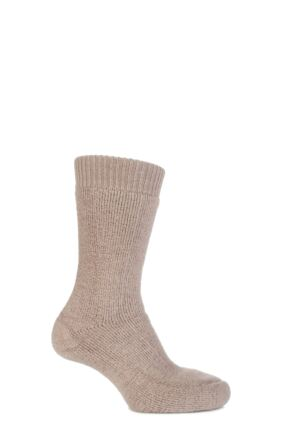Mens and Ladies 1 Pair SockShop of London Alpaca Boot Socks With Cushioning In Toffee Toffee 4-7