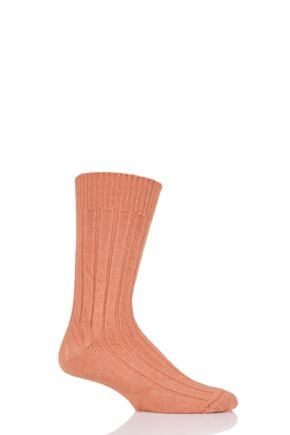 Mens and Ladies 1 Pair SOCKSHOP of London Alpaca Bed Socks Burnt Orange 4-7 Unisex