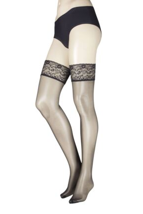 Ladies 1 Pair Falke Seidenglatt 15 Denier Lace Top Stockings
