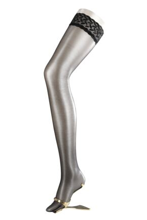 Ladies 1 Pair Falke Shelina 12 Denier Ultra Transparent Hold Ups With Shimmer Black
