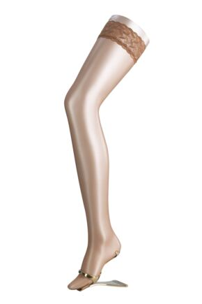 Ladies 1 Pair Falke Shelina 12 Denier Ultra Transparent Hold Ups With Shimmer