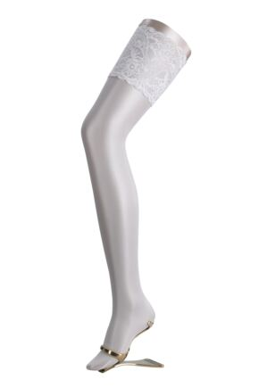 Ladies 1 Pair Falke Seidenglatt 15 Denier Transparent Shining Deep Lace Hold Ups White B