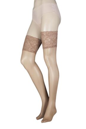 Ladies 1 Pair Falke Seidenglatt 15 Denier Transparent Shining Deep Lace Hold Ups