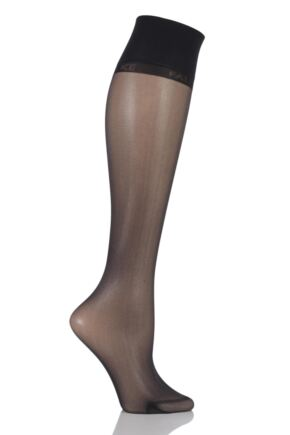 Ladies 1 Pair Falke Seidenglatt 15 Denier Transparent Shining Knee Highs 33% OFF Black
