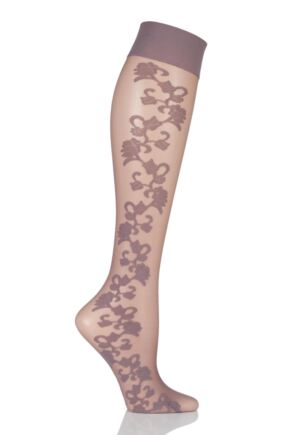 Ladies 1 Pair Falke Mysterious Twine Floral Knee Highs Violetta 35-38