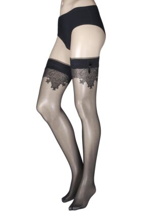 Ladies 1 Pair Falke Lace Detail Hold Ups