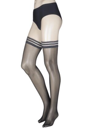 Ladies 1 Pair Falke Soundless Night Striped Top Hold Ups