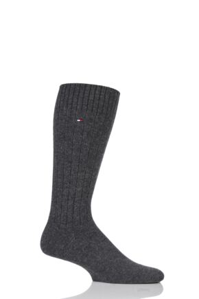 Mens 1 Pair Tommy Hilfiger Cashmere Ribbed Socks Anthracite Melange 7.5-8.5 Mens