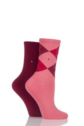 Ladies 2 Pair Tommy Hilfiger Argyle and Plain Cotton Socks Cuba 2.5-5