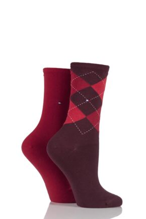 Ladies 2 Pair Tommy Hilfiger Argyle and Plain Cotton Socks Tawny Combo 6-8